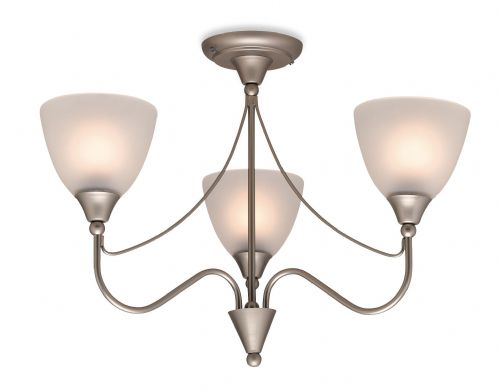 Firstlight 8039SS Satin Steel with Opal Glass Santana 3 Light Flush Fitting